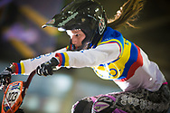 #103 (AZUERO GONZALEZ Domenica Michelle) ECU at the UCI BMX Supercross World Cup in Manchester, UK
