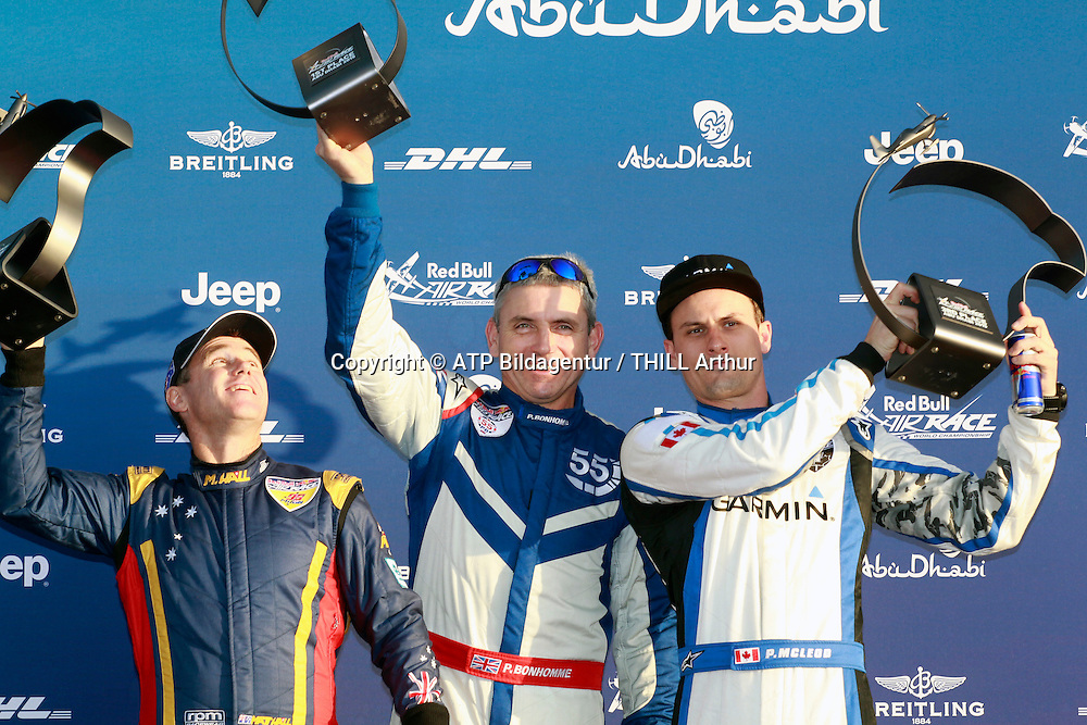 Paul BONHOMME, GBR, Winner of the Red Bull Air Race in Abu Dhabi / Air Plane EDGE 540 V2 - - runner up is Matt HALL (AUS) and 3rd Pete McLEOD, CAN. <br /> ABU DHABI 14. February 2015 - Air Race, Red Bull Air Race event in the United Arab Emirates - UAE, <br /> Flugzeug Rennen in den Vereinigte Arabische Emirate, Honorarpflichtiges Foto, Fee liable image, Copyright &copy; ATP THILL Arthur