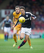 Dundee's Danny Williams races away from Motherwell's Jack McMillan - Motherwell v Dundee in the Ladbrokes Scottish Premiership at Fir Park, Motherwell.Photo: David Young<br /> <br />  - © David Young - www.davidyoungphoto.co.uk - email: davidyoungphoto@gmail.com