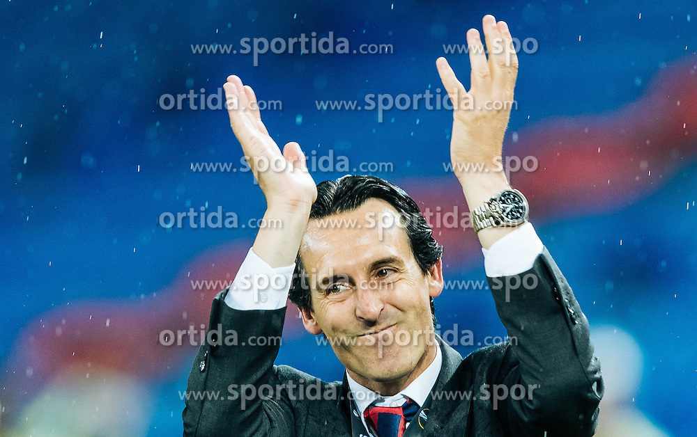 18.05.2016, St. Jakob Park, Basel, SUI, UEFA EL, FC Liverpool vs Sevilla FC, Finale, im Bild Jubel von Trainer Unai Emery (FC Sevilla) # // Trainer Unai Emery (FC Sevilla) celebrate during the Final Match of the UEFA Europaleague between FC Liverpool and Sevilla FC at the St. Jakob Park in Basel, Switzerland on 2016/05/18. EXPA Pictures © 2016, PhotoCredit: EXPA/ JFK