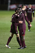 Prince Bauben is congratulated after opening the scoring - Hearts v Dundee under 20s in the SPFL Development League at Ochilview, Stenhousemuir. Photo: David Young<br /> <br />  - &copy; David Young - www.davidyoungphoto.co.uk - email: davidyoungphoto@gmail.com
