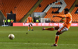 Blackpool's Liam Feeney has a shot on goal during the Emirates FA Cup, third round match at Bloomfield Road, Blackpool.