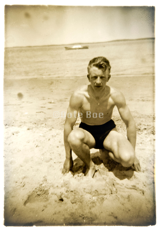 young adult man on the beach France circa 1930s