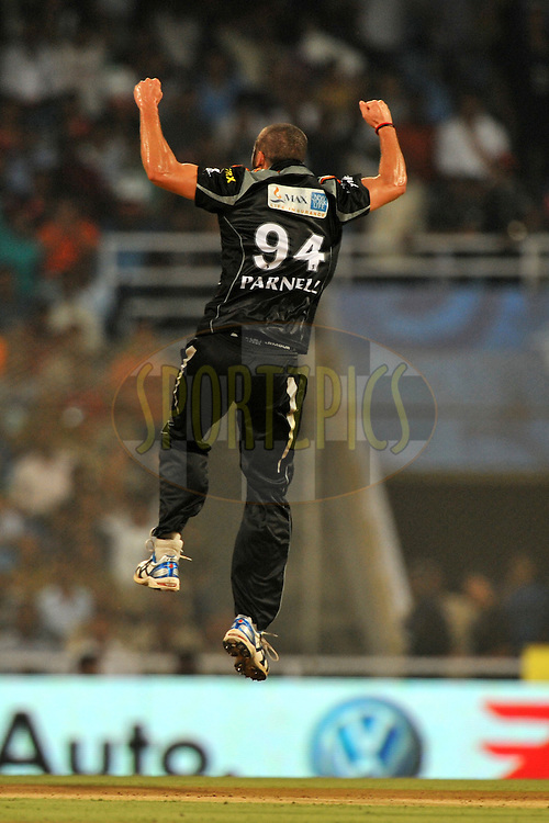 Waynne Parnell of Pune Warriors India celebrate the wicket of Parthiv Patel of Kochi Tuskers Kerala during  match 10 of the Indian Premier League ( IPL ) Season 4 between the Pune Warriors and the Kochi Tuskers Kerala held at the Dr DY Patil Sports Academy, Mumbai India on the 12th April 2011..Photo by Pal Pillai /BCCI/SPORTZPICS