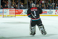 KELOWNA, CANADA - OCTOBER 4: James Porter #1 of the Kelowna Rockets skates to the net during a second period goalie change against the Victoria Royals on October 4, 2017 at Prospera Place in Kelowna, British Columbia, Canada.  (Photo by Marissa Baecker/Shoot the Breeze)  *** Local Caption ***