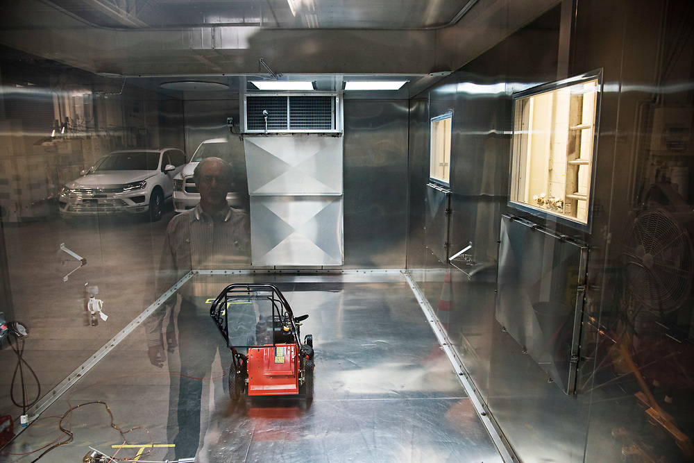 LOS ANGELES, CA   August 10, 2017 A lawn mower sits in a hermetically sealed shed to measure the evaporative qualities of this two-stroke engine. The California Air Resources Board's Arie Jan Haagen-Smit Laboratory tests the emissions on thousands of cars, motorcycles, lawnmowers, boats, and other things with engines annually. The facility is named for Haagen-Smit a Dutch scientist who discovered the link between vehicle emissions and L.A. smog. (Melissa Lyttle for The New York Times)