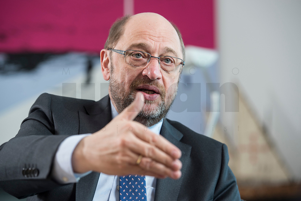 27 FEB 2017, BERLIN/GERMANY:<br /> Martin Schulz, SPD, desig. Parteivorsitzender und Kanzlerkandidat, waehrend einem Interview, in seinem Beuro, Willy-Brandt-Haus<br /> IMAGE: 20170227-01-030