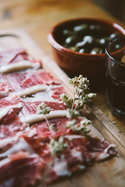 Jamon Iberico, 100% Acorn fed ham from the Extramedura region of Spain.