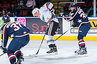 KELOWNA, CANADA - JANUARY 22: Rodney Southam #17 of Kelowna Rockets stick handles the puck <br /> against the Tri City Americans on January 22, 2016 at Prospera Place in Kelowna, British Columbia, Canada.  (Photo by Marissa Baecker/Shoot the Breeze)  *** Local Caption *** Rodney Southam;