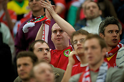 MONCHENGLADBACH, GERMANY - Wednesday, October 15, 2008: Wales supporters look dejected during their 2-1 defeat by Germany in the 2010 FIFA World Cup South Africa Qualifying Group 4 match at the Borussia-Park Stadium. (Photo by David Rawcliffe/Propaganda)