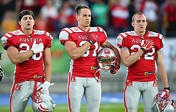 04.06.2014, UPC Arena, Graz, AUT, American Football Europameisterschaft 2014, Gruppe B, Frankreich (FRA) vs Oesterreich (AUT), im Bild Florian Pos, (Team Austria, RB, #26), Christian Kober, (Team Austria, DB, #31) und Matthias Rebl, (Team Austria, DB, #22) // during the American Football European Championship 2014 group B game between France vs Austria at the UPC Arena, Graz, Austria on 2014/06/04. EXPA Pictures © 2014, PhotoCredit: EXPA/ Thomas Haumer