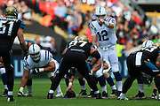 Andrew Luck of Indianapolis Colts calls the plays during the International Series match between Indianapolis Colts and Jacksonville Jaguars at Wembley Stadium, London, England on 2 October 2016. Photo by Jason Brown.