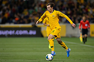 CANBERRA, AUSTRALIA - OCTOBER 10: Australian midfielder Craig Goodwin (11) dribbles the ball during the FIFA World Cup Qualifier soccer match between Australia and Nepal on October 10, 2019 at GIO Stadium in Canberra, Australia. (Photo by Speed Media/Icon Sportswire)