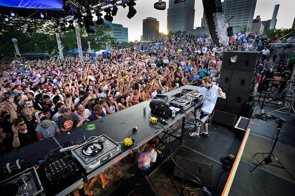 DETROIT, MICHIGAN - USA -  DJ Excision performs at the Detroit Electronic Music Festival (DEMF), now known as Movement, in Detroit. (Photo by Bryan Mitchell)