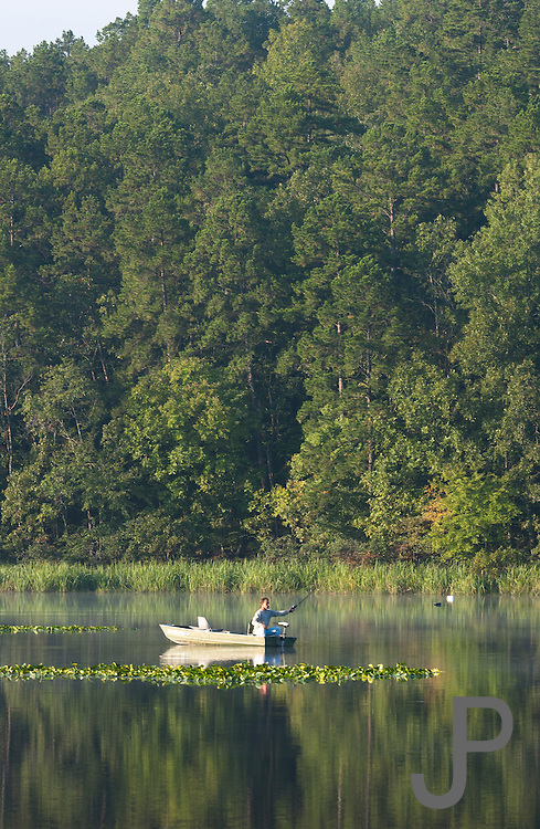 A fisherman tries his luck at Clayton Lake State Park in southeast Oklahoma.