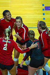 BLOOMINGTON, IL - September 14: Taylor Lynch, Kaylee Martin, Stef Jankiewicz, Kendal Meier and Sarah Kushner during a college Women's volleyball match between the ISU Redbirds and the University of Central Florida (UCF) Knights on September 14 2019 at Illinois State University in Normal, IL. (Photo by Alan Look)