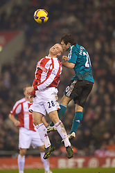 STOKE-ON-TRENT, ENGLAND - Saturday, January 10, 2009: Liverpool's Javier Mascherano and Stoke City's Andy Wilkinson during the Premiership match at the Britannia Stadium. (Photo by David Rawcliffe/Propaganda)