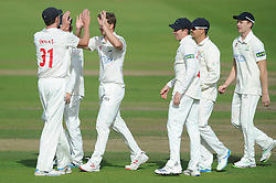 Kieran Noema-Barnett of Gloucestershire is caught at point by Andrew Salter of Glamorgan from Craig Meschede bowl for 5. @Gloscricket 262-5, 21 needed to avoid follow-on #GLOvGLA - Mandatory byline: Dougie Allward/JMP - 07966386802 - 24/09/2015 - Cricket - County Ground -Bristol,England - Gloucestershire CCC v Glamorgan CCC - LV=County Championship - Division Two - Day Three