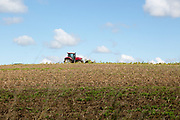 Red tractor hillside field summer sunny blue sky cumulus clouds, Suffolk, England, UK