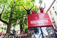 Osasuna's players during the celebration for promotion to La Liga BBVA on the streets of Pamplona . 19,06,2016. (ALTERPHOTOS/Rodrigo Jimenez)