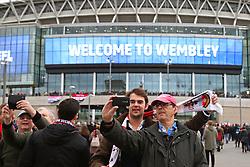 Fans take selfies outside Wembley Stadium - Mandatory by-line: Matt McNulty/JMP - 26/02/2017 - FOOTBALL - Wembley Stadium - London, England - Manchester United v Southampton - EFL Cup Final