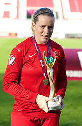 LLANELLI, WALES - Saturday, August 31, 2013: France's goalkeeper Solene Durand celebrates after being England 2-0 during the Final of the UEFA Women's Under-19 Championship Wales 2013 tournament at Parc y Scarlets. (Pic by David Rawcliffe/Propaganda)