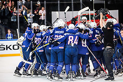 Players of France celebrate after winning during the 2017 IIHF Men's World Championship group B Ice hockey match between National Teams of France and Slovenia, on May 15, 2017 in AccorHotels Arena in Paris, France. Photo by Vid Ponikvar / Sportida