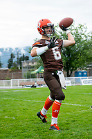 KELOWNA, BC - SEPTEMBER 8:  Ethan Newman #6 of Okanagan Sun poses warms up against the Langley Rams  at the Apple Bowl on September 8, 2019 in Kelowna, Canada. (Photo by Marissa Baecker/Shoot the Breeze)