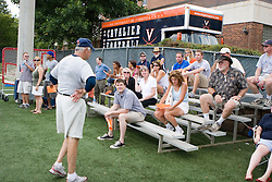 Virginia Cavaliers Head Coach Al Groh greets fans who endured the summer heat at the team's first open practice.  The Virginia Cavaliers football team held their first open practice of the 2007 season on the practice fields next to the University of Virginia's McCue Center in Charlottesville, VA on August 10, 2007.