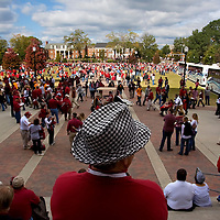 "TUSCALOOSA, AL -- October, 24, 2009 -- University of Alabama fans head into the game adorned with houndstooth hats in honor of former coach Paul ""Bear"" Bryant  prior to the Crimson Tide's 12-10 victory over the University of Tennessee Volunteers at Bryant-Denny Stadium in Tuscaloosa, Ala., Saturday, Oct. 24, 2009."