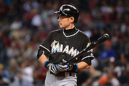 PHOENIX, AZ - JUNE 12:  Ichiro Suzuki #51 of the Miami Marlins reacts while at bat against the Arizona Diamondbacks in the ninth inning at Chase Field on June 12, 2016 in Phoenix, Arizona.  The Arizona Diamondbacks won 6-0.  (Photo by Jennifer Stewart/Getty Images)
