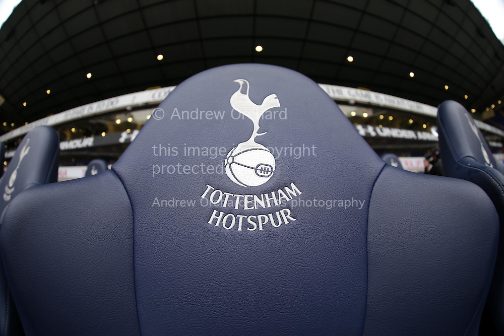 a close up view of the home managers seat in the dugout before k/o. Barclays Premier league match, Tottenham Hotspur v Newcastle Utd at White Hart Lane in London on Sunday 13th December 2015.<br /> pic by John Patrick Fletcher, Andrew Orchard sports photography.