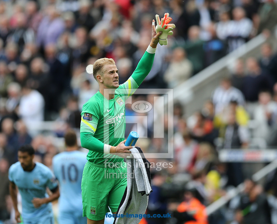 Joe Hart of Manchester City waves to the traveling fans prior to the Barclays Premier League match at St. James's Park, Newcastle<br /> Picture by Simon Moore/Focus Images Ltd 07807 671782<br /> 17/08/2014