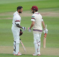 Peter Trego and James Hildreth in the middle - Photo mandatory by-line: Alex Davidson/JMP - Mobile: 07966 386802 - 22/08/15 - SPORT - CRICKET - LV County Championship Division One - Day Two - Somerset v Worcestershire - The County Ground, Taunton, England.