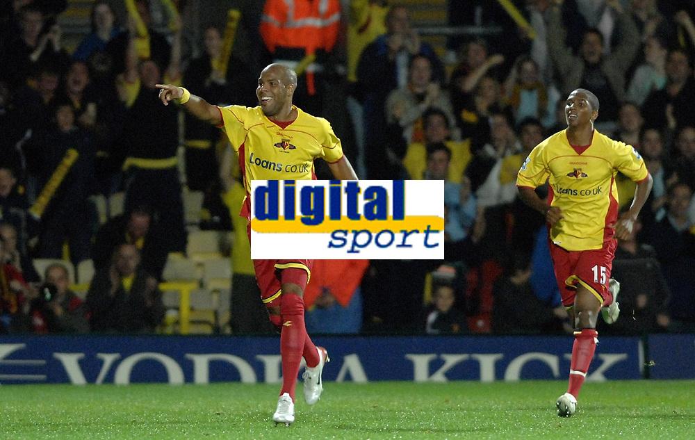 Photo: Richard Lane.<br />Watford v Fulham. The Barclays Premiership. 02/10/2006. <br />Watford's Marlon King celebrates his goal.