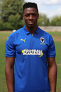 AFC Wimbledon defender Paul Kalambayi (30) during the AFC Wimbledon 2018/19 official photocall at the Kings Sports Ground, New Malden, United Kingdom on 31 July 2018. Picture by Matthew Redman.