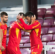 FYR Macedonia's Kire Markoski is congraulated by Boban Nikolov after scoring the only goal of the game during Scotland Under-21 v FYR Macedonia,  UEFA Under 21 championship qualifier  at Tynecastle, Edinburgh. Photo: David Young<br /> <br />  - © David Young - www.davidyoungphoto.co.uk - email: davidyoungphoto@gmail.com