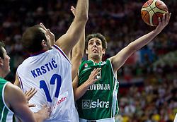 Nenad Krstic of Serbia vs Domen Lorbek (13) of Slovenia during the EuroBasket 2009 Semi-final match between Slovenia and Serbia, on September 19, 2009, in Arena Spodek, Katowice, Poland.  (Photo by Vid Ponikvar / Sportida)
