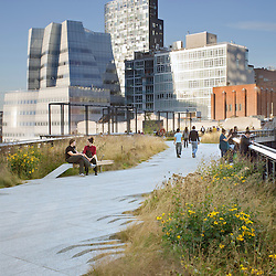 "The ""High Line"" an urban elevated greenway reclaimed from a discontinued elevated commuter rail right of way in the Chelsea district of New York City, New York USA.Landscape Architect:  James Corner Field Operations.Editorial use only. No releases"