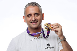 Igor Kokoskov with medal at photoshoot after press conference of KZS and Slovenian national baskteball team after winning Gold medal at Eurobasket 2017 - Istanbul on September 19, 2017 in Austria Trend Hotel, Ljubljana, Slovenia. Photo by Matic Klansek Velej / Sportida