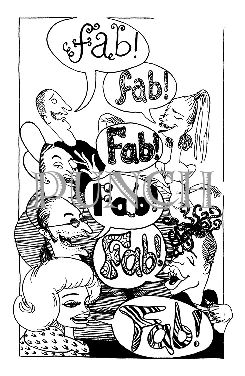 (A group of fashionable people all saying 'Fab')