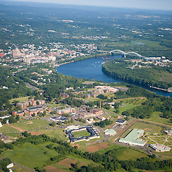 The Connecticut River in Middletown, Connecticut.  Aerial.