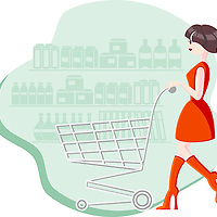 Young brunette woman in red dress and boots with empty cart going through the aisle at the grocery store
