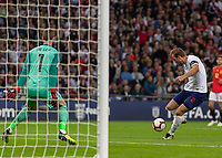 Football - 2018 / 2019 UEFA Nations League A - Group Four: England vs. Spain<br /> <br /> Harry Kane (England) prepares to strike at David de Gea (Spain) at Wembley Stadium.<br /> <br /> COLORSPORT/DANIEL BEARHAM