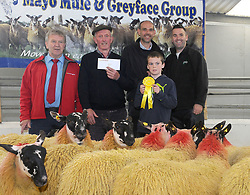 Michael Staunton Tourmakeady 3rd place Mule Ewe Lambs at the Mayo Mule and Greyface Premier Show and sale at Ballinrobe on friday last.<br />Tj Gormally (Cormac Tagging) Brian Matthews Show Judge, Michael Staunton with Michael Og Staunton and David Prendergast (Ioml&aacute;n Animal Science Sponsor)<br />Pic Conor McKeown
