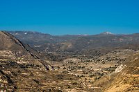 aerial view of Colca Canyon in the peruvian Andes at Arequipa Peru