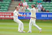 Jack Leach of Somerset runs to Peter Trego of Somerset after the fall of the final wicket to beat Nottinghamshire during the Specsavers County Champ Div 1 match between Somerset County Cricket Club and Nottinghamshire County Cricket Club at the Cooper Associates County Ground, Taunton, United Kingdom on 22 September 2016. Photo by Graham Hunt.