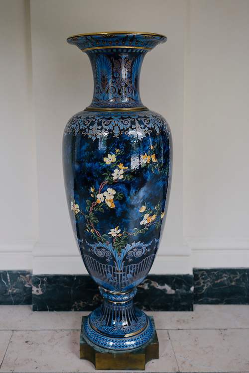 One of two large blue porcelain and gilded bronze Sèvres vases from the 19th century in the Vestibule of French Ambassador's residence in the Kalorama neighborhood of Washington D.C. France acquired the residence in 1936.