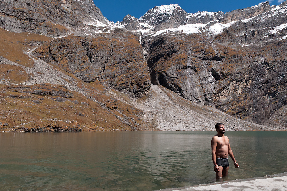 A Sikh immerses in the frigid, soul-purifying waters of Hem Kund