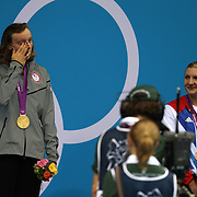 Katie Ledecky, USA, crying after winning the Gold Medal in the Women's 800m Freestyle Final at the Aquatic Centre at Olympic Park,  during the London 2012 Olympic games. London, UK. 3rd August 2012. Photo Tim Clayton